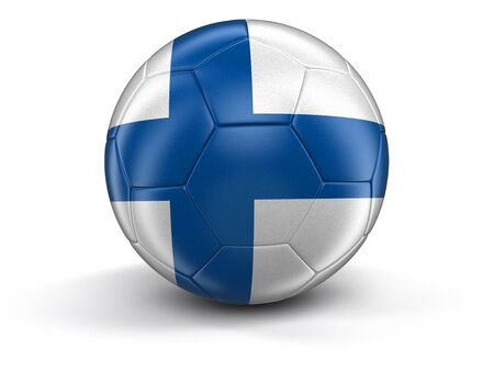 finnish: Soccer football with Finnish flag. Image with clipping path