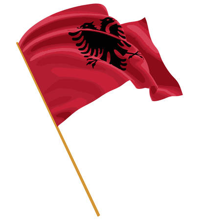 fabric surface: 3D Albanian flag with fabric surface texture Illustration
