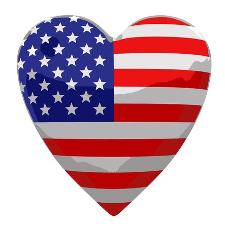 americas: Heart with USA flag