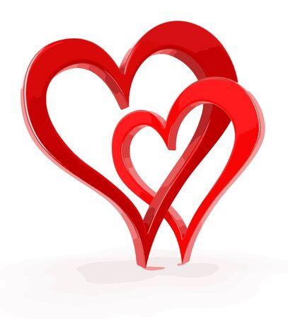bound: Two 3d bound hearts