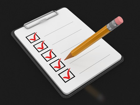 checklist: Clipboard Checklist. Image with clipping path Stock Photo
