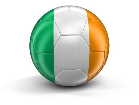 irish culture: Soccer football with Irish flag. Image with clipping path