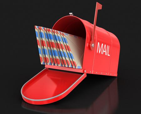 buzon: buzón abierto con las letras. Imagen con el camino de recortes