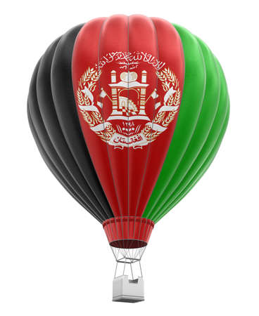 afghan flag: Hot Air Balloon with Afghan Flag. Image with clipping path