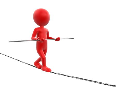 tightrope walker: Tightrope Walker. Image with clipping path Stock Photo