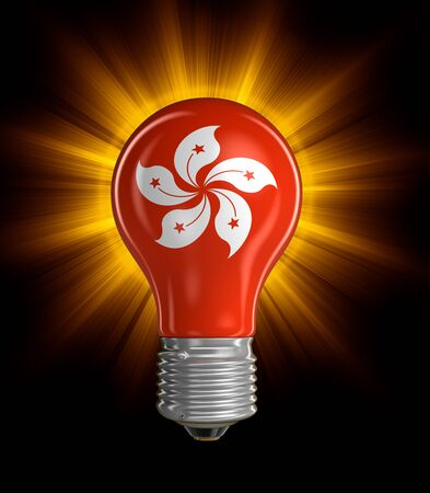 swiss culture: Light bulb with Swiss flag. Image with clipping path Stock Photo