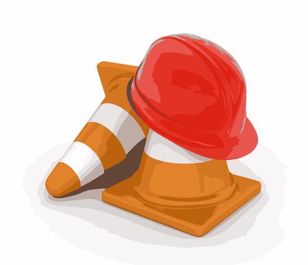 stop icon: Helmet and traffic cones
