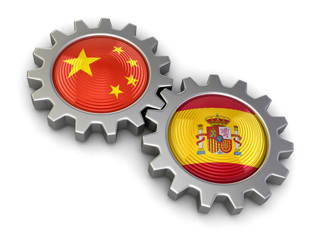Chinese and Spanish flags on a gears. Image with clipping path