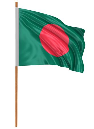 fabric surface: 3D Flag of Bangladesh with fabric surface texture. White background. Image with clipping path