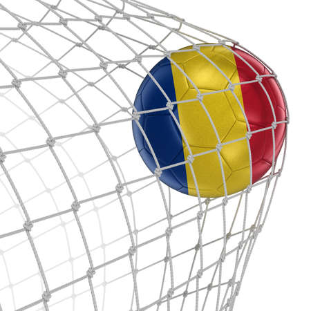 soccerball: Romanian soccerball in net. Image with clipping path Stock Photo