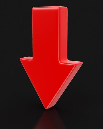 downwards: 3d arrow downwards. Image with clipping path