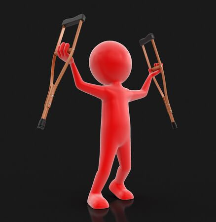 misfortune: Man and crutches. Image with clipping path