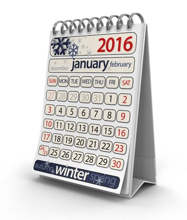 the january: Calendar - January 2016 clipping path included