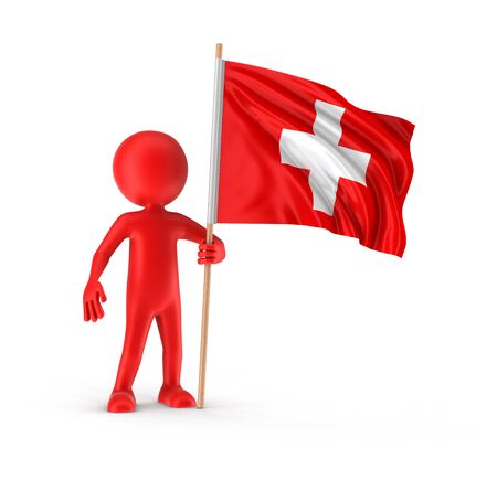 swiss culture: Man and Swiss flag. Image with clipping path