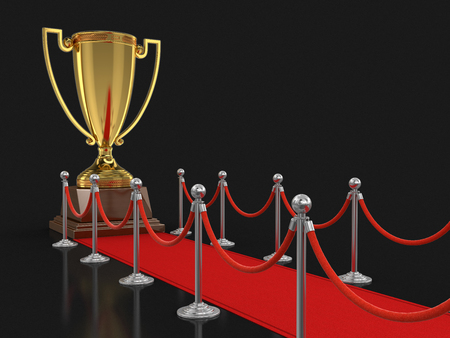 stanchion: Trophy Cup on Red Carpet. Image with clipping path