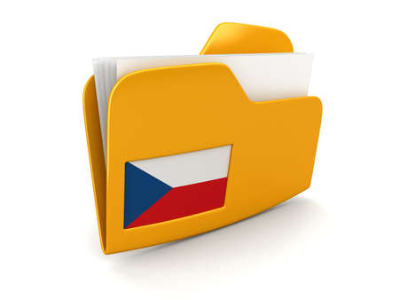czech culture: folder and lists with Czech Flag. Image with clipping path