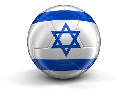 israeli: Soccer football with Israeli flag