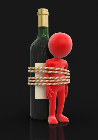 tied up: Man with bottle. Image with clipping path