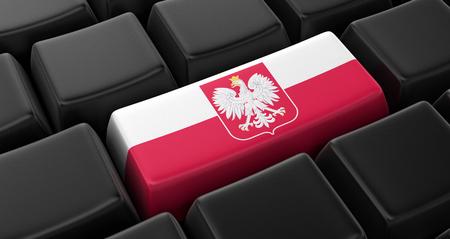 bandera de polonia: Clave con la bandera polaca Foto de archivo