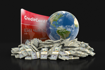 making earth: Credit Card with Globe and dollars. Image with clipping path Stock Photo