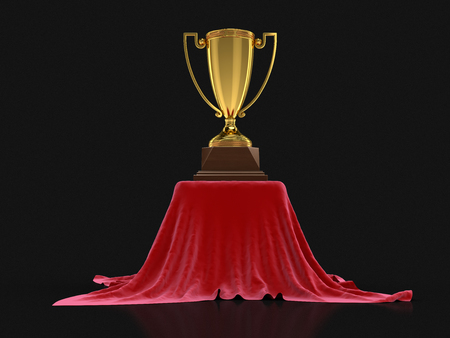 rewarding: Trophy Cup on Red Carpet. Image with clipping path