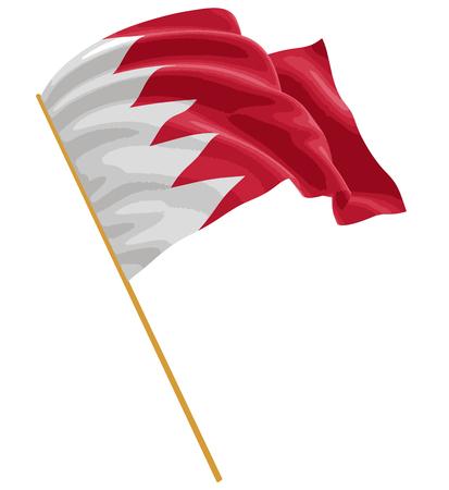 bahrain: 3D Flag of Bahrain Illustration