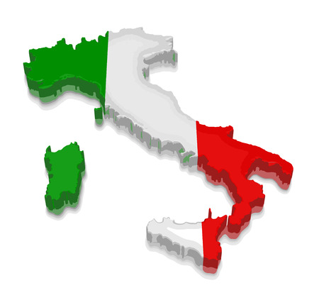 physical geography: Map of Italy. 3d render Image. Image with clipping path Illustration