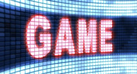 window display: The word Game on the screen Stock Photo