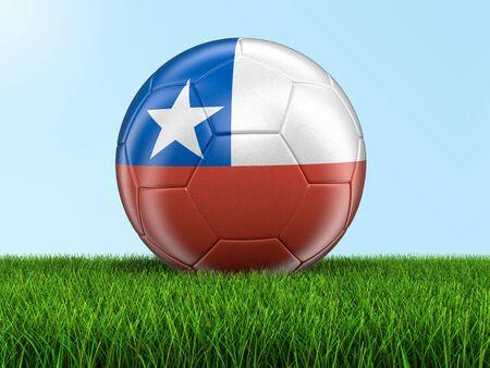 chilean flag: f�tbol de f�tbol con la bandera chilena Foto de archivo