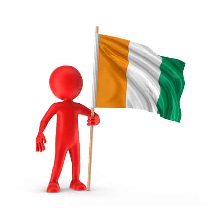 cote: Man and Cote divoire flag Stock Photo