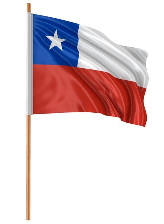 bandera chilena: 3D Chilean flag with fabric surface texture Foto de archivo