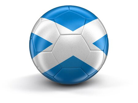 scottish culture: Soccer football with Scottish flag