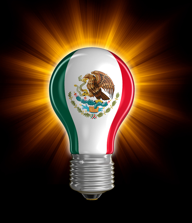 mexican flag: Light bulb with Mexican flag Stock Photo