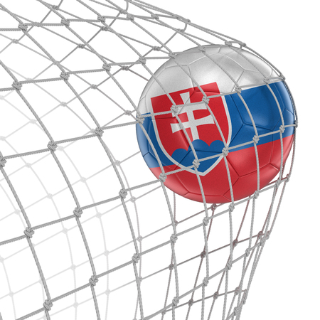 soccerball: Slovak soccerball in net Stock Photo