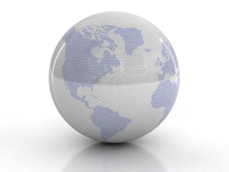 0 geography: Globe with Binary Code