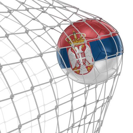serbian: Serbian soccer ball in net.