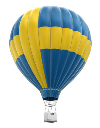 the swedish flag: Hot Air Balloon with Swedish Flag Stock Photo