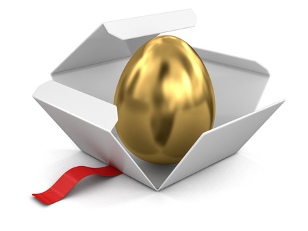golden egg: Open package with golden egg.