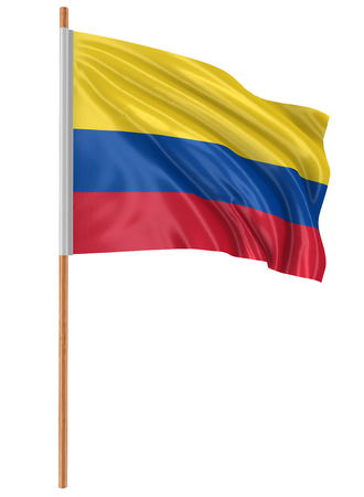 colombian flag: 3D Colombian flag with fabric surface texture. White background.