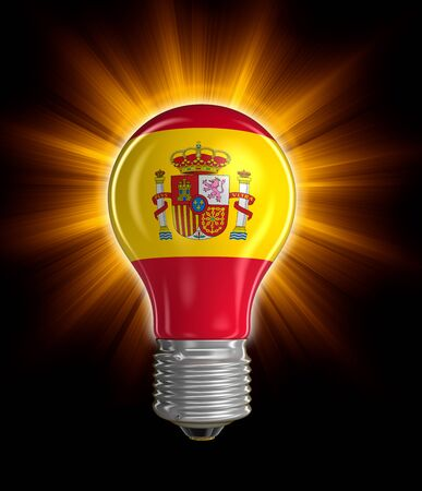 spanish flag: Light bulb with Spanish flag.