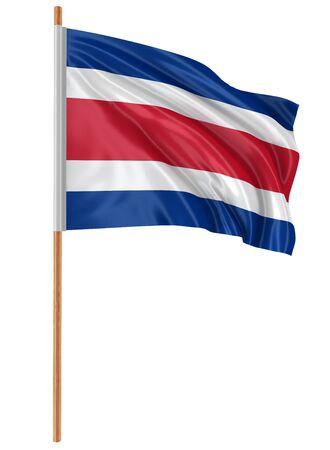 bandera de costa rica: 3D bandera de Costa Rica con tejido textura superficial. Fondo blanco. Foto de archivo