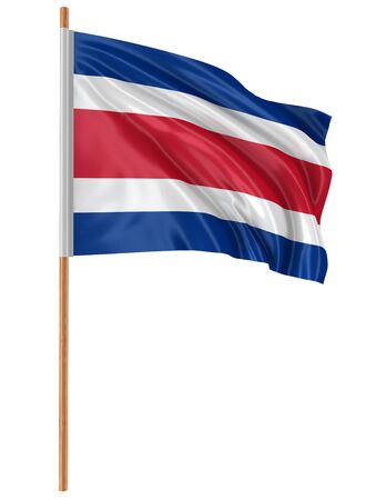 fabric surface: 3D Costa rica flag with fabric surface texture. White background. Stock Photo