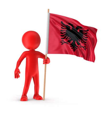 albanian: Man and Albanian flag Stock Photo
