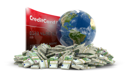 making earth: Credit Card with Globe and euro.