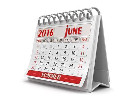 june: Calendar - June 2016 Stock Photo