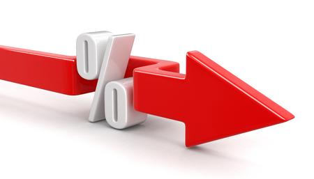 Symbole pour cent avec la flèche. Banque d'images - 54611616