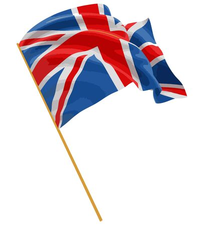 british culture: 3D UK Flag with fabric surface texture. White background Illustration