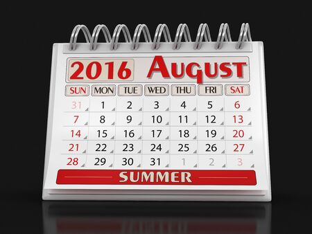included: Calendar - August 2016 (clipping path included)