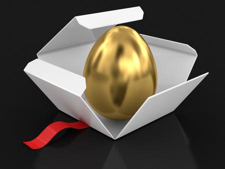 golden egg: Open package with golden egg