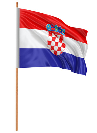 fabric surface: 3D Croatian flag with fabric surface texture
